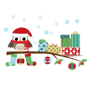 Christmas Owl removable wall stickers