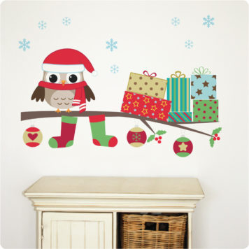 Christmas Owl removable wall stickers behind the cabinet