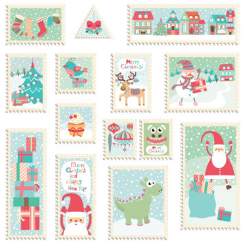 Christmas Stamps removable wall stickers