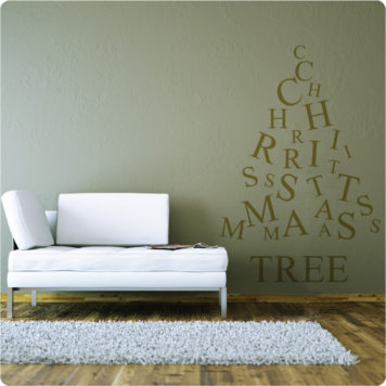 Christmas tree removable wall sticker behind a white sofa