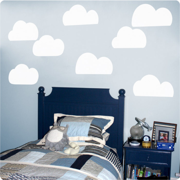 Clouds removable wall stickers in the Antonis boy's room
