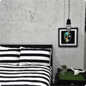 Concrete removable wallpaper Australia in a bedroom