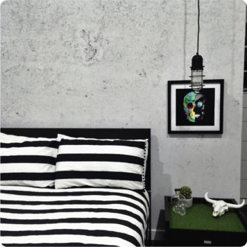 Concrete removable wallpaper Australia in a bedroom