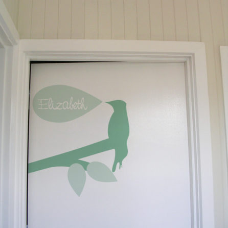 Chilad name Elizabeth Door Names removable wall stickers for kids room in tree silhouette design