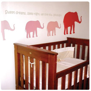 Elephant removable wall stickers in the Newman nursery room