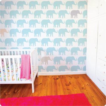 Elephants removable wallpaper Australia for nursery in child's room