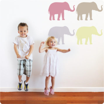 Bubba elephants removable wall stickers with 2 kids jumping in front