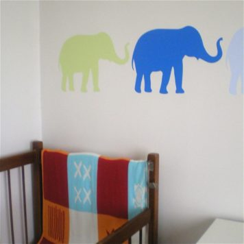 Bubba elephants removable wall stickers behind the crib