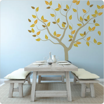 Tree of Seasons removable wall sticker with dining table in front