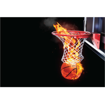 basketball on fire poster for boys room