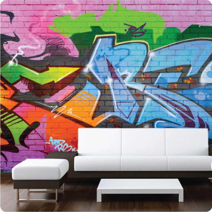 Graffiti removable wallpaper Australia with brown and white sofa in front