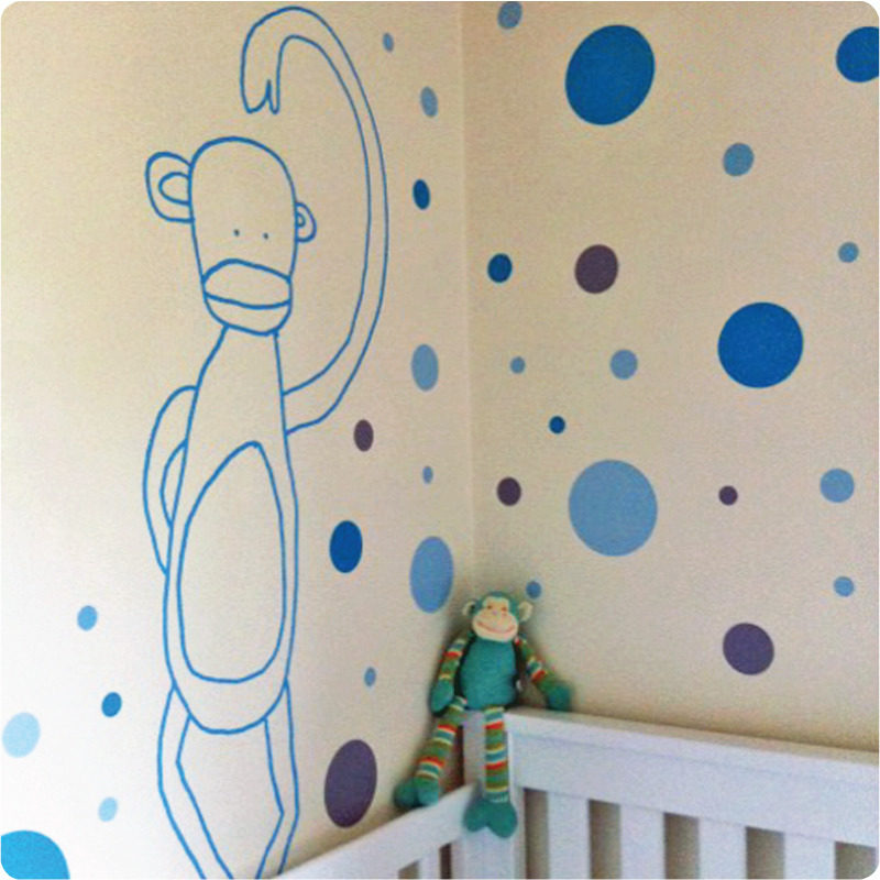 Jane Reiseger Monkey removable wall stickers behind the crib