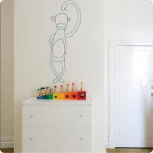 Jane Reiseger Monkey removable wall stickers with kid's cabinet in front