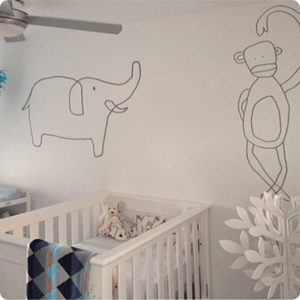 Jane Reiseger Monkey removable wall stickers on a child's room