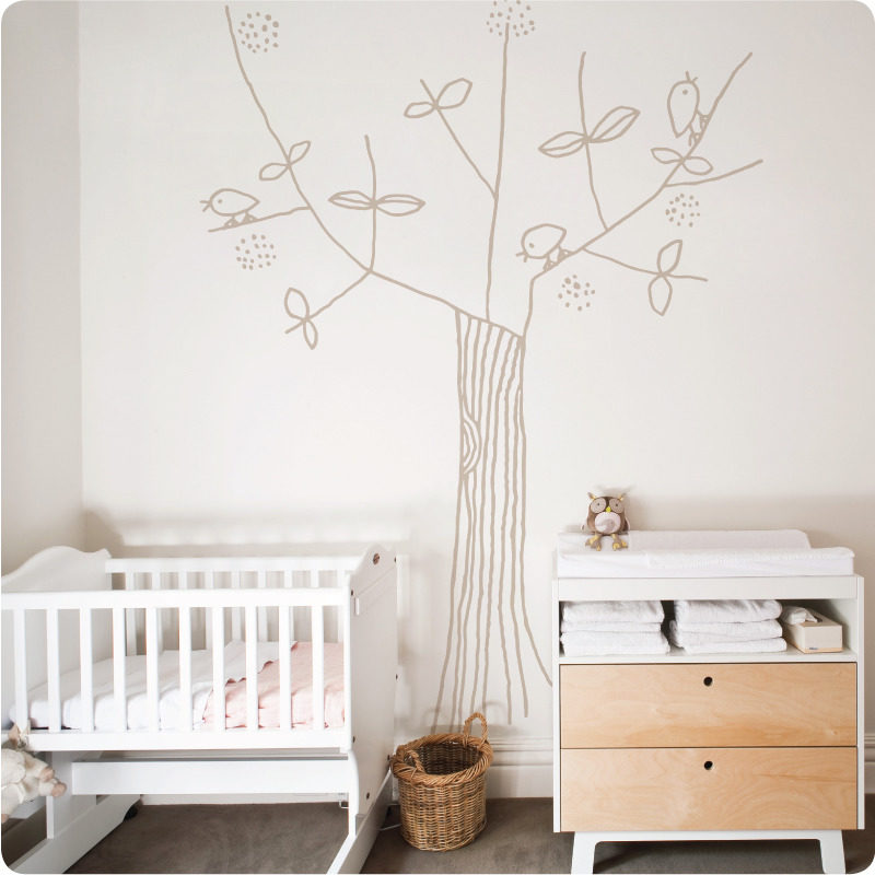 Tree and Bird removable wall stickers by Jane Reiseger in nursery room