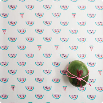Watermelon removable wallpaper Australia by Jane Reiseger with fresh watermelon on it