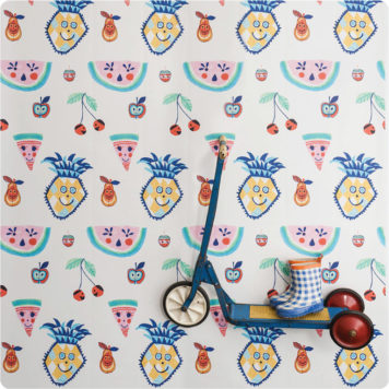Tutti Fruiti wallpaper removable wallpaper Australia by Jane Reiseger with kid's skateboard in front