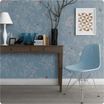 Gypsy bohemian removable wallpaper Australia by Kristen Doran in blue