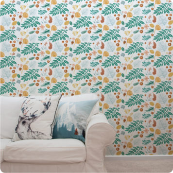 Leafy Days removable wallpaper Australia behind a sofa