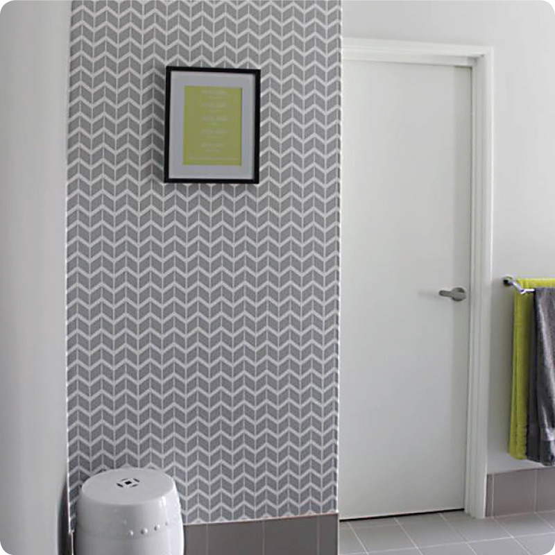 Herringbone removable wallpaper Australia Curio and Curio and frame on the wall