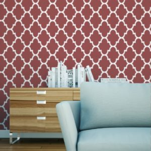 Morocco removable wallpaper Australia behind a sofa and cabinet