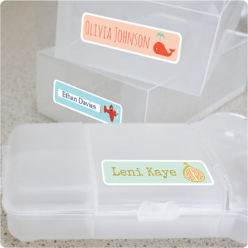 Design your own name labels x16 for kids removable wall stickers on lunchbox