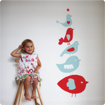 Birdstack removable wall stickers by Printspace behind with little girl sitting on the wooden chair