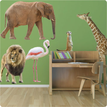 Safari Animals removable wall stickers with kid's study table in front