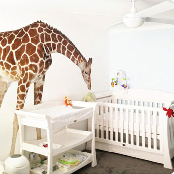 Real-life removable giraffe wall sticker in Hemley nursery room