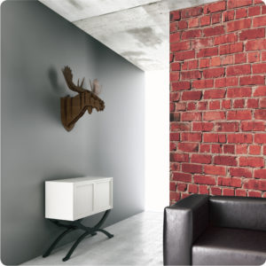 Red Brick removable wallpaper Australia in a living room