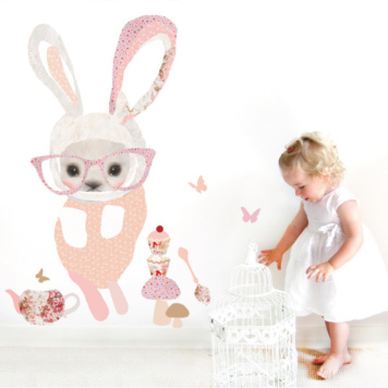 Schmooks Bunny in Glass removable wall stickers with baby playing beside