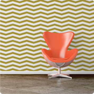 Skinny Chevron removable wallpaper Australia with chair in front