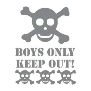 Skull and Crossbones removable wall stickers in grey