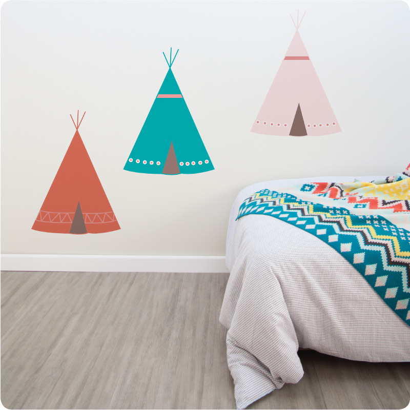Three Teepees removable wall stickers