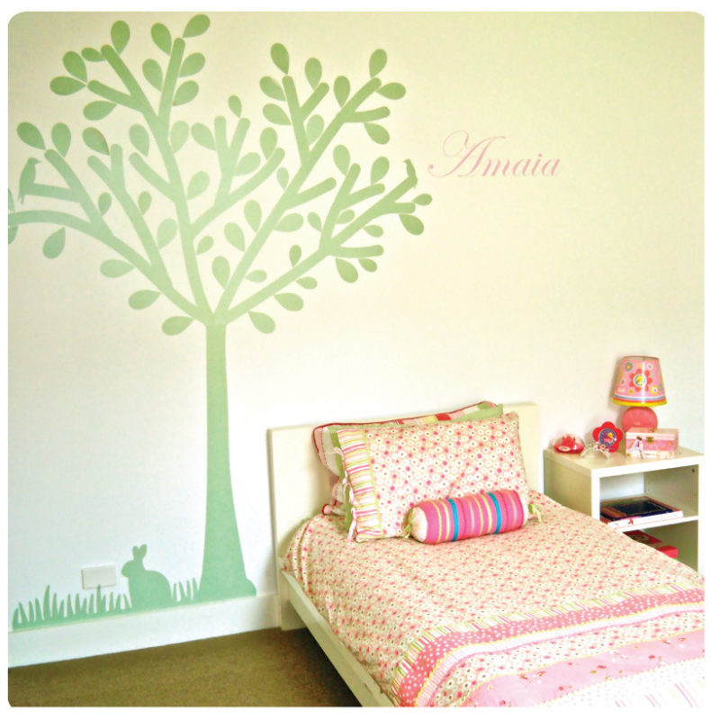 Tree silhouette removable wall sticker with Amaia name beside