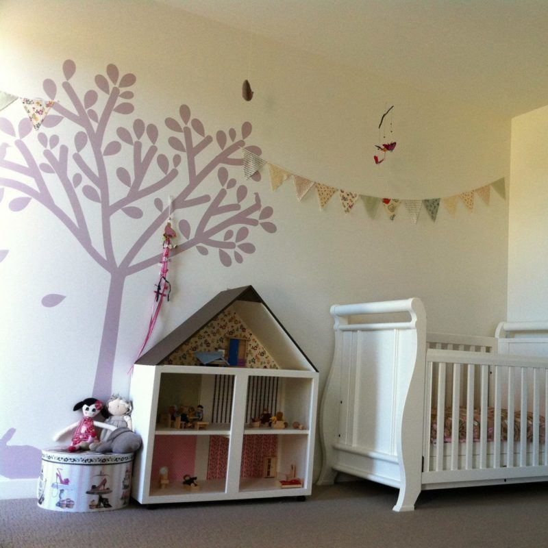 Tree silhouette removable wall sticker with doll house in front