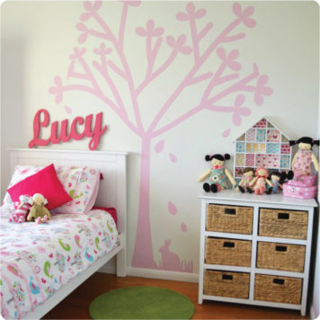 Tree silhouette removable wall sticker in a kid's bedroom