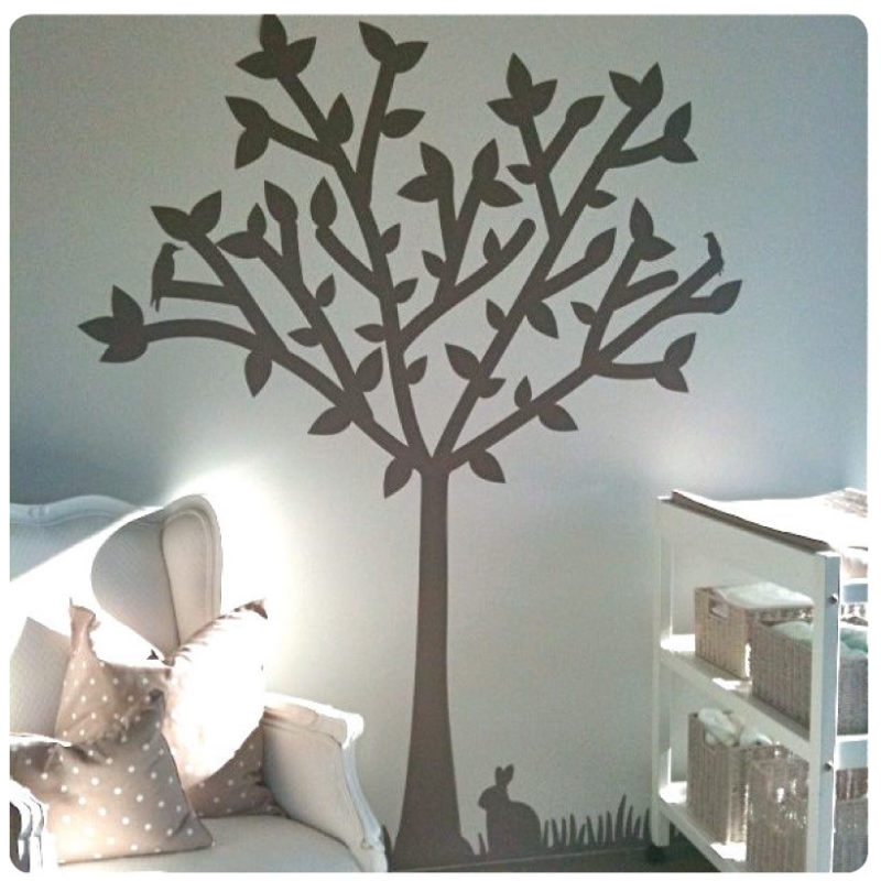 Tree silhouette removable wall sticker in a living room
