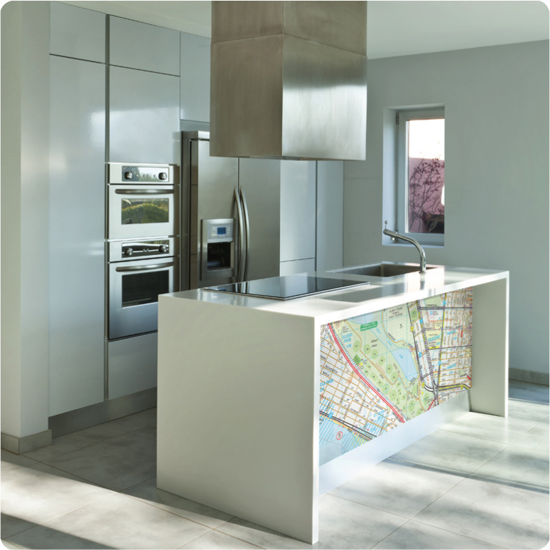 removable wall stickers Melway street map customised installed in kitchen counter
