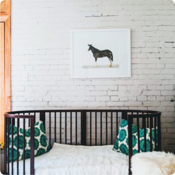 White Brick removable wallpaper Australia and printed horse frame on the wall