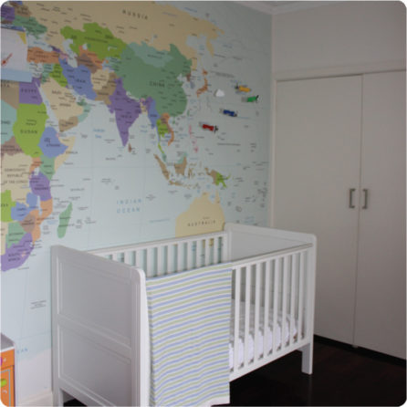 World Map removable Wall Mural Australia in Chrissie Swan's nursery room