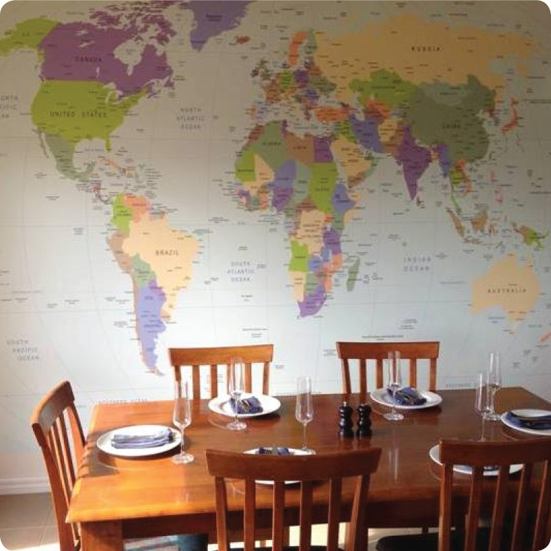 A Dining room with World Map removable Wall Mural Australia displayed on the wall