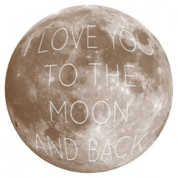 Moon and Back removable wall sticker in brown