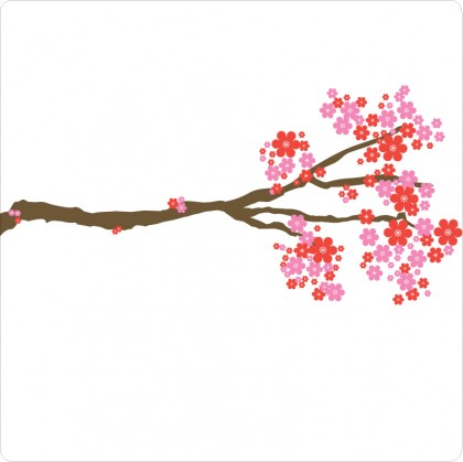 Blossom removable wall sticker in purple and red flowers