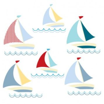 Boats removable wall sticker in red, yellow and blue facing right