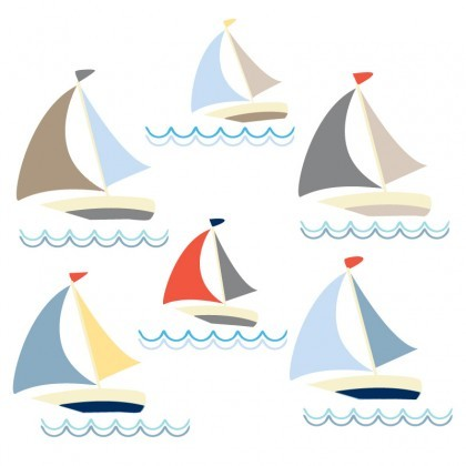 Boats removable wall sticker facing to the right
