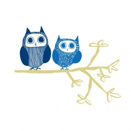 Owl Couple wall stickers in blue
