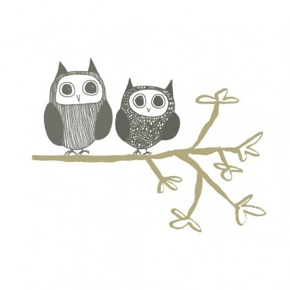 Owl Couple wall stickers in greys