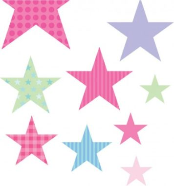 Stars removable wall sticker in pink and purple