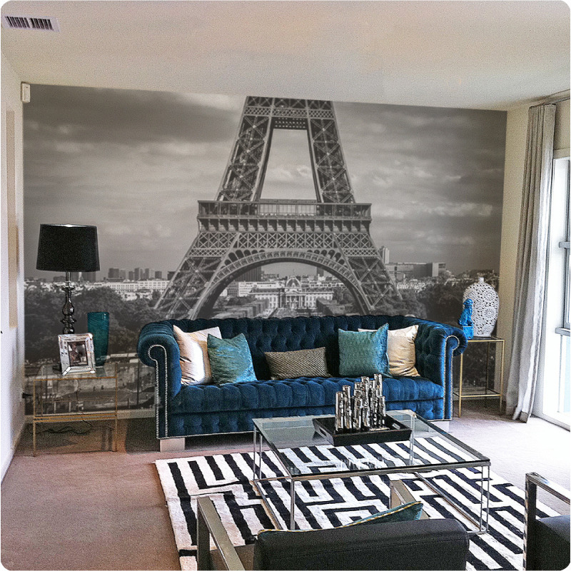 Paris removable mural in a formal lounge room